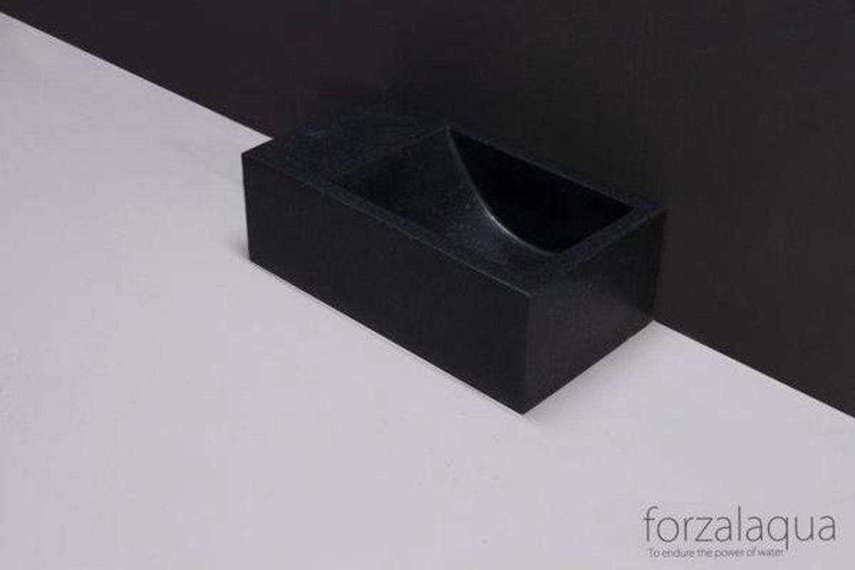 Forzalaqua Venetia Xs fontein 29x16x10cm geen kraangat links rechthoek graniet gezoet antraciet