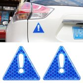2 STKS Auto-Styling Driehoek Carbon Waarschuwing Sticker Decoratieve Sticker (Blauw)