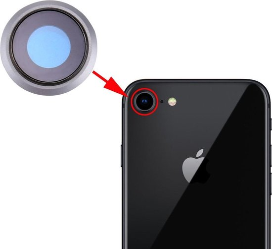Let op type!! Rear Camera Lens Ring for iPhone 8 (Silver)