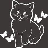 Voordeelset sticker kliko container 3 x Poes met vlinders wit   Rosami