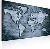 Schilderij - Wereldkaart , Blauwe Wereld