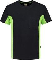 Tricorp T-shirt Bi-Color - Workwear - 102002 - Zwart-Limoengroen - maat XL