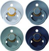 BIBS Fopspeen - Maat 2 (6-18 maanden) - 4 stuks - Baby Blue, Deep Space, Petrol en Island Sea (blauw)