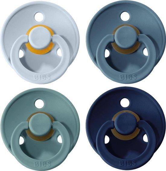 Product: BIBS Fopspeen - Maat 2 (6-18 maanden) - 4 stuks - Baby Blue, Deep Space, Petrol en Island Sea (blauw), van het merk BIBS