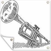 Illustratie van een trompet in zwart-wit tuinposter 40x30 cm - klein - Tuindoek / Buitencanvas / Schilderijen voor buiten (tuin decoratie)