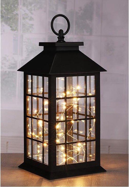 Bol Com 1x Zwarte Decoratie Lantaarns Met Led Lampjes 31 Cm Woondecoratie Lantaarn Zwart
