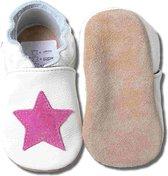 Hobea - babyslofjes - roze ster - wit