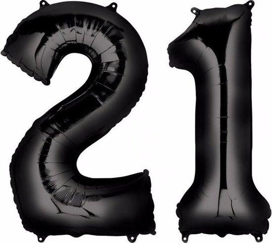 21 jaar zwarte folie ballonnen 88 cm leeftijd/cijfer - Leeftijdsartikelen 21e verjaardag versiering - Heliumballonnen