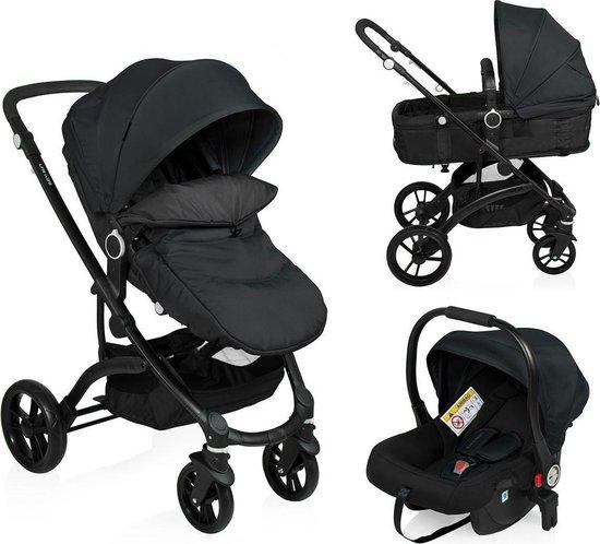 Little World Kinderwagen City Walker 3 in 1 - Zwart - Tot 22 kg!