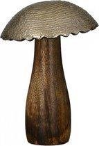 Decoratie paddenstoel hout / aluminium 18cm