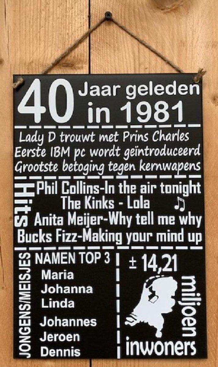Zinken tekstbord 40 jaar geleden in 1981 - Antraciet - 20x30 cm - veertiger kado tip