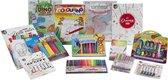 tekendoos / kleuren set van Grafix - kleurplaten - viltstiften - markers - gelpen - stempel - waterverf - regenboog markers - kleurpotloden - activiteitenboek