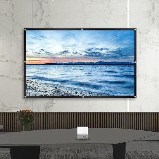 SAMA™ Projectiescherm 150 Inch - Beamer scherm - Projectie doek - Incl. krachtige bevestigingshaken - Wit