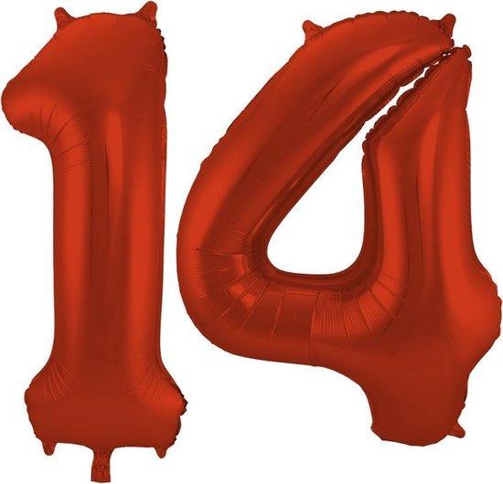 Cijfer 14 Rood Helium 86 cm