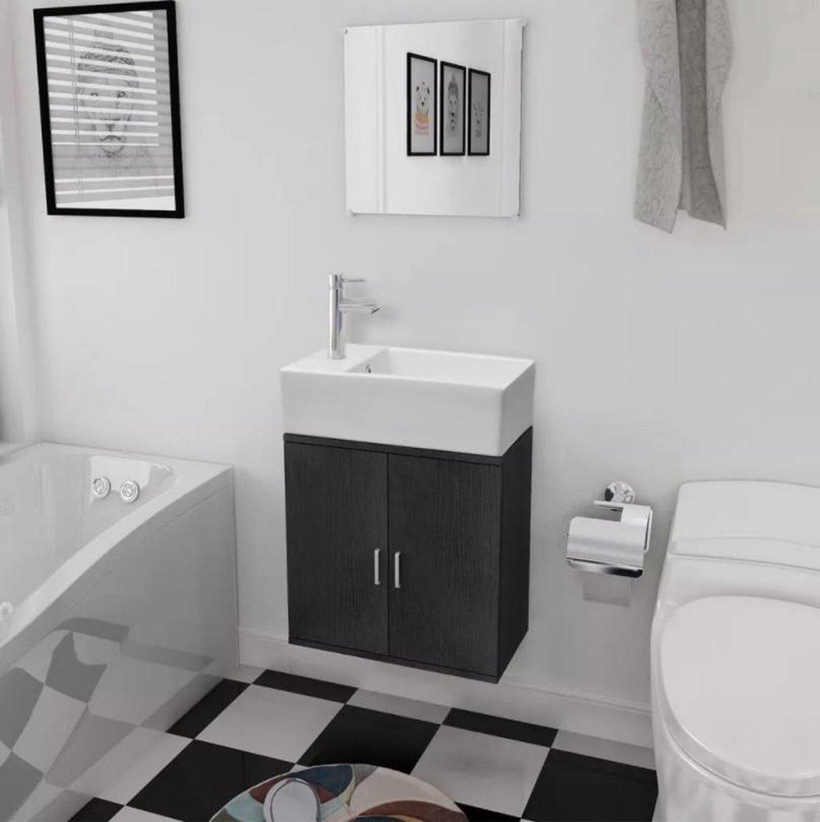 Badkamermeubelset - set - Onderkast - Wasbak - Spiegel - Zwart - Industrieel - L&B Luxurys