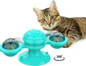 Pepets © - Kattenspeeltje - Speelgoed Katten - Interactief Speelgoed Kat - Interactief Kattenspeeltje - Roterend Speeltje - Lichtspeeltje Kat - Laserspeeltje kat - Ronddraaiend Kattenspeeltje - Turquoise - Kattenkruid, 2xLedbal, 2 x Belletje GRATIS