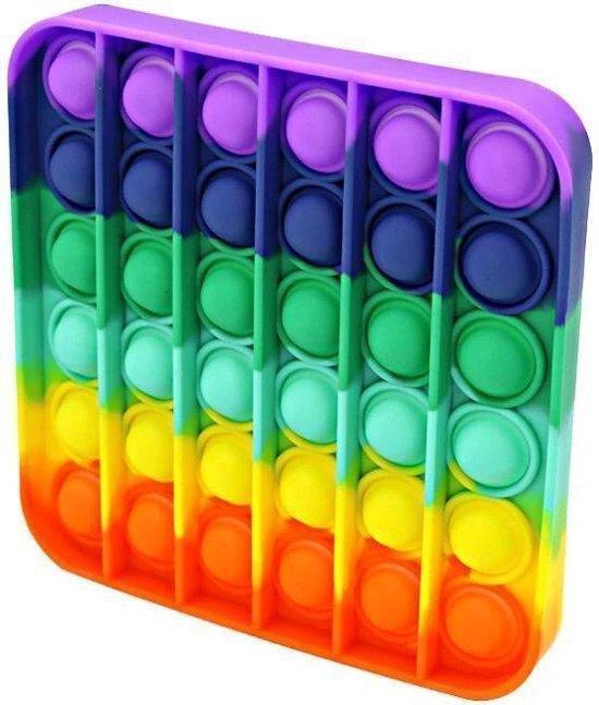 Afbeelding van Pop it fidget toy - Vierkant Regenboog speelgoed