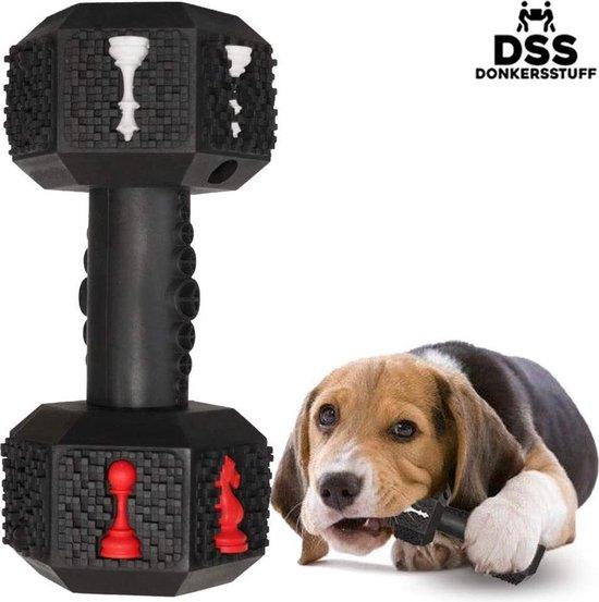 Honden speelgoed -Dumbbell -Geschikt voor kleine en middelgrote honden- Tanden schoonmaken- Kauwen- Haltervorm- Zwart- Natuurrubber met Baconsmaak