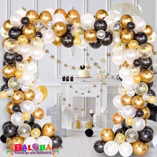 Baloba® BallonnenBoog zwart, goud - Feest Versiering met Papieren Confetti Ballonnen - Verjaardag Bruiloft Versiering - 120 Helium Ballonnen