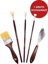 Trizzle Acrylverf Penselen Schilderset met Waaierpenselen, Paletmes en Spalter – Bob Ross Schilderen Starter Pakket