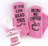 Cupcake Koffie Sokken fluffy - Huissokken - dames - one size - anti slip - Cadeau voor haar - grappig - Housewarming - Moederdag cadeautje - vrouw - verjaardag - moeder - mama