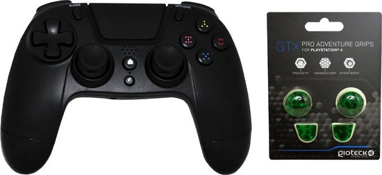 Gioteck PS4 Bluetooth Controller 3.5mm Jack Plug Zwart Bundel met thumbgrips (Groen kubus) joystick bescherming