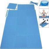 Foamtegels, zwembadtegels 16 delig, ondergrond voor zwembad, blauw