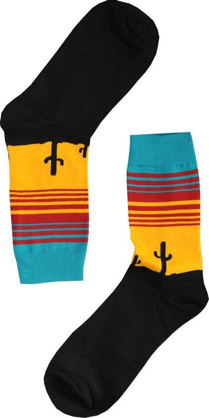 Cactus Sokken maat 39-44 - Zwart, Geel - Grappige, vrolijke en leuke Sokken