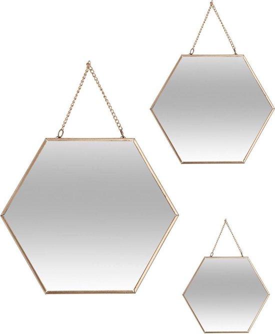 Spiegel goud - Wandspiegel - Hexagon - Goude spiegel - Honingraat - Met ophangketting - set van 3