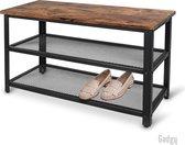 Gadgy Schoenenrek met Bankje - 65x30x45 cm – 6/9 paar schoenen – Industrieel - Vintage - Hout/metaal