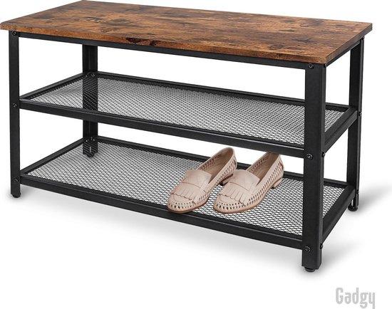Gadgy Schoenenrek met Bankje - 65 x 30 x 45 cm – Voor 6 paar schoenen – Met verstelbare pootjes