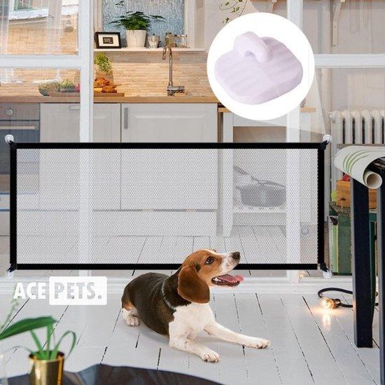 ACE Pets – Oprolbaar Hondenrek voor Binnen - Traphekje Hond Zonder Boren - Veiligheidshek Deurhekje - 180 x 72 cm - Zwart