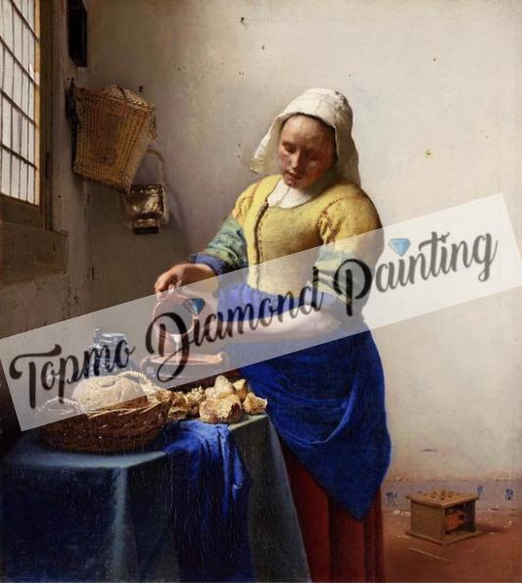 TOPMO- Het melkmeisje - Schilderij van Johannes Vermeer-  40X50CM-  Diamond painting pakket - HQ Diamond Painting - VOLLEDIG dekkend - Diamant Schilderen - voor Volwassenen – ROND