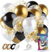 Fissaly® 40 stuks Goud, Zwart & Wit Helium Ballonnen met Lint – Decoratie – Papieren Confetti – Latex - Geslaagd & Afgestudeerd