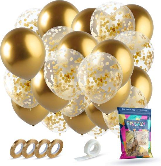 Fissaly® 40 stuks Gouden & Confetti Goud Helium Ballonnen met Lint – Decoratie – Papieren Confetti – Latex