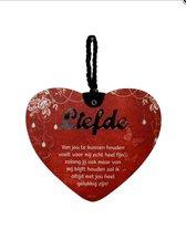 Liefdes hart Liefde van jou .... met een pakkende tekst - MDF - 14x17 - Geschenk