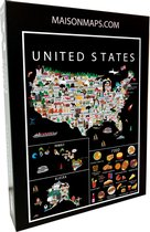 Puzzel van de Verenigde Staten   1000 stukjes   68x48 cm   Familiepuzzel   Jigsaw   Legpuzzel   Maison Maps