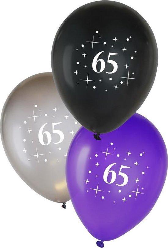 Metallic Ballonnen 65 jaar, 6 stuks, Zwart/ Zilver/ Paars, Verjaardag