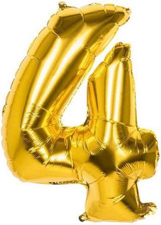 4 Jaar Folie Ballonnen Goud - Happy Birthday - Foil Balloon - Versiering - Verjaardag - Jongen / Meisje - Feest - Inclusief Opblaas Stokje & Clip - XXL - 115 cm