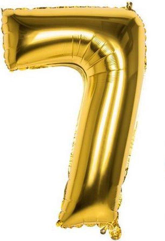 7 Jaar Folie Ballonnen Goud - Happy Birthday - Foil Balloon - Versiering - Verjaardag - Jongen / Meisje - Feest - Inclusief Opblaas Stokje & Clip - XXL - 115 cm