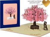 Popcards popupkaarten - Sakura Kersenbloesem roze Kersenboom wenskaart Valentijn Valentijnskaart Valentijnscadeau Valentijnsdag Liefde Verliefd Verloofd Trouwen Trouwkaart Felicitatie Verjaardag Verjaardagskaart Jarig pop-up kaart 3D wenskaart