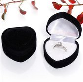 Hartvormig sieradendoos - Velvet Ringdoos Sieraden Gift Box - Valentijnsdag - Aanzoek - Liefde - Trouwring houder - Huwelijk - Ring Case - Zwart