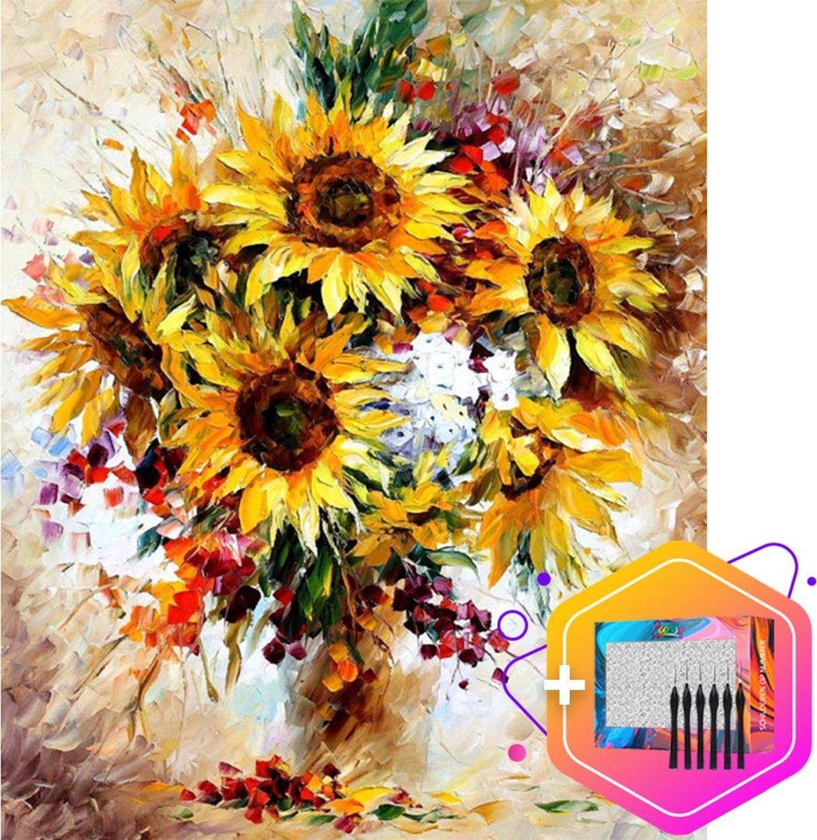 Pcasso ® Wilde Bloemen - Schilderen Op Nummer - Incl. 6 Ergonomische Penselen En Geschenkverpakking - Schilderen Op Nummer Volwassenen - Canvas Schilderdoek - Kleuren Op Nummer - 40x50 cm