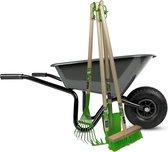 Kinderkruiwagen Antraciet met Tuingereedschap Groen 5-delig -
