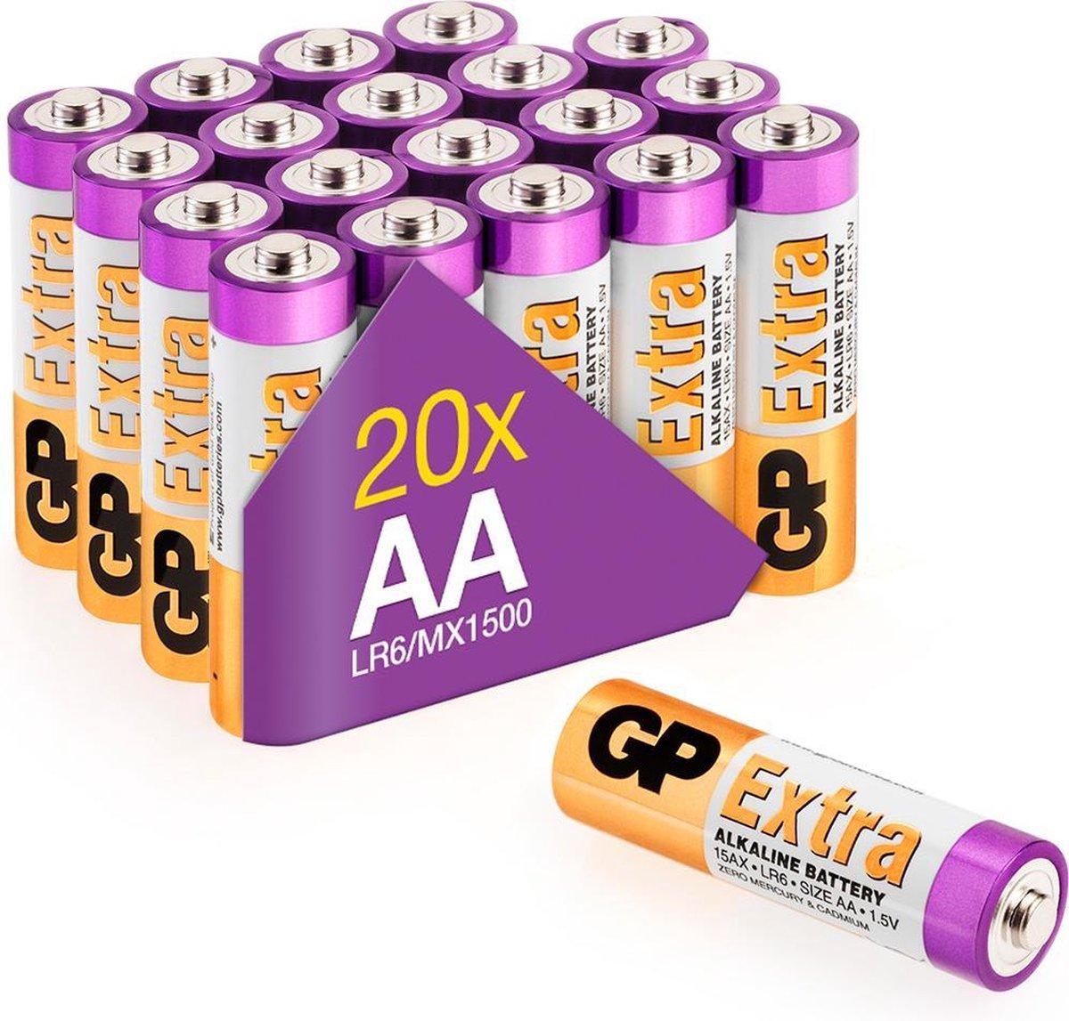 GP Extra Alkaline batterijen AA mignon penlite LR06 batterij 1.5V - 20 stuks - AA batterij