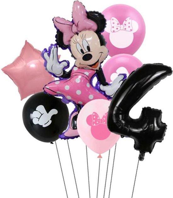 7 stuks ballonnen Minnie Mouse thema - verjaardag - 4 jaar