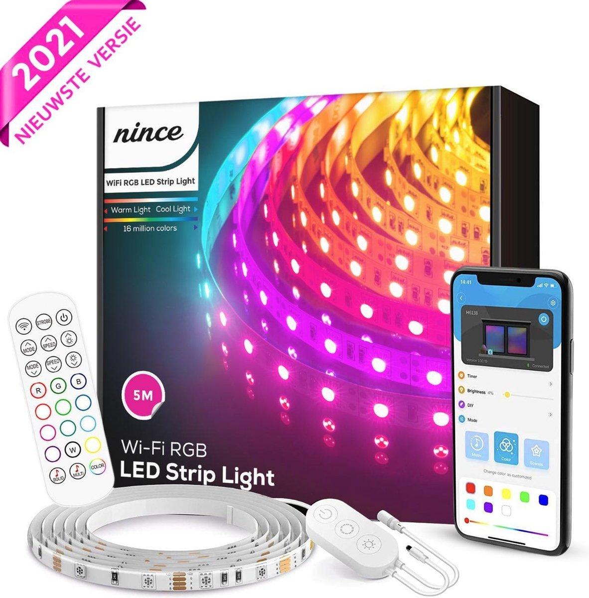 Nince Smart Ledstrip 5 Meter Wifi - SMD 5050 RGB LED 16 Miljoen Kleuren - Bestuurbaar met App - Led strip 2021 Model - Geschikt voor iOS en Android