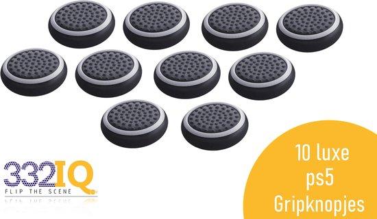 332IQ Thumb Grips – 10 stuks – PS4 en PS5 – Zwart met Witte cirkel