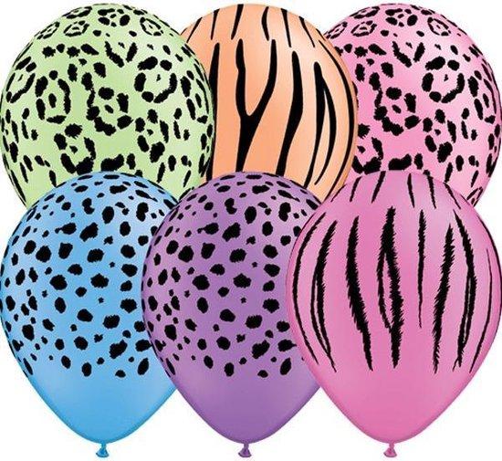 Safari Ballonnen , 6 stuks, Neon , Themafeest, 100% biologisch afbreekbaar.