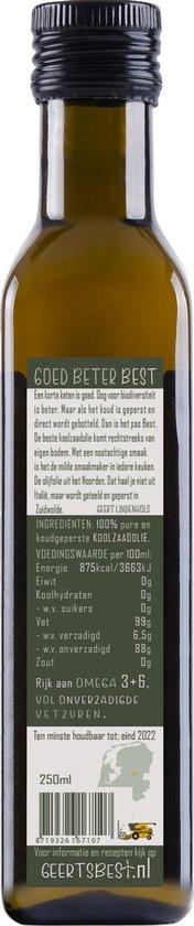 Geerts Best Koolzaadolie 250ml - Rijk aan omega 3+6 en koud geperst (van Nederlandse bodem)